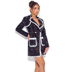 Miss Circle Sequined Blazer Dress